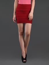 Maroon Self Striped Pencil Skirt Cum Tube Top - N-Gal