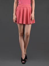 Polka Dot Printed Flared Mini Skirt - N-Gal