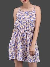 Floral Print Elastic Waist Flared Dress - N-Gal