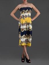 Smocked Bust Printed Strapless Dress - N-Gal
