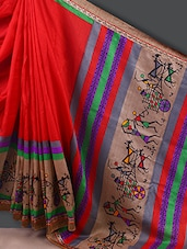 Warli Printed Border With Pallu Saree - Varanga
