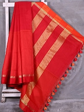 Red & Orange Handloom Cotton Silk Saree - Creation