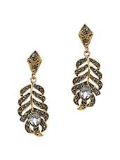 Crystal Studded Leaf Drop Earrings - Stol'n