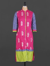 Mandarin Collar Paisley Block Print Cotton Kurta - Maya Antiques