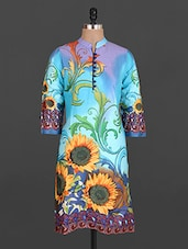 Mandarin Collar Filigree Floral Print Cotton Kurta - Maya Antiques