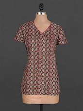 Overlap Neck Short Sleeve Cotton Kurti - Maya Antiques