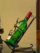 Black Iron Wine Bottle Holder - By