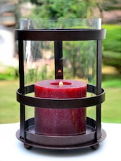 Black Iron And Glass Candle Holder - AG