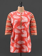 Feather Print Short Cotton Kurta - KAJJALI