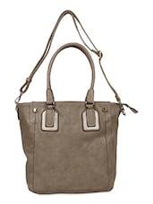 Solid Brown Leatherette Handbag - Bags Craze