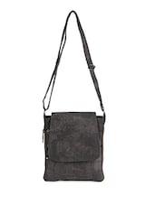 Grey Leatherette Sling Bag - Bags Craze