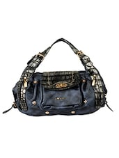 Navy Blue Leatherette Slouchy Handbag - Alonzo