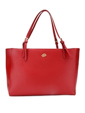 Red Oversized Faux Leather Handbag - By