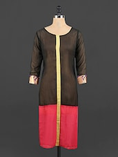 Round Neck Colour Block Georgette Kurta - Yufta