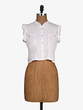 White Shirt Collar Cotton Crop Top - Alibi
