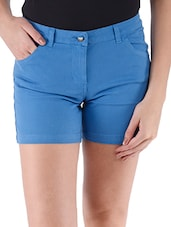 Electric Blue Plain Solid Cotton Lycra Shorts - Alibi