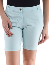 Light Blue Plain Solid Cotton Lycra Shorts - Alibi