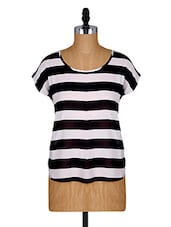 White And Black Striped Top - Alibi