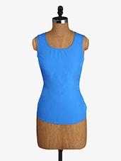 Light Blue Sleeveless Polyester Top - Alibi