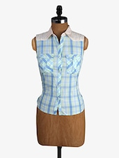 Yarn Dyed Checks Sleeveless  Cotton Shirt - Alibi