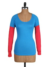 Round Neck Contrasting Long Sleeves Top - Amari West