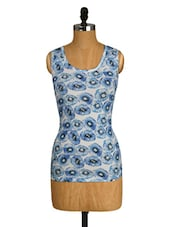 Blue And White Printed Sleeveless Top - Amari West