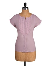 Light Pink Embroidered Cotton Top - Amari West