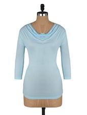 Pastel Blue Cowl Neck Viscose Top - Amari West