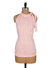 White And Orange Striped Halter Top - Amari West