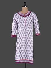 Block Printed Quarter Sleeve Cotton Kurta - Inara Robes