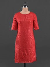 Red Round Neck Poly Crepe Short Dress - Queens