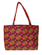 Multi Colour Wooden Bead Strap Canvas Tote Bag - Womaniya