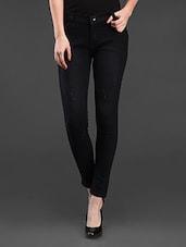 Black Solid Cotton Jeans - Dashy Club