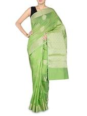 Light Green Cotton Silk Banarasi Saree - By