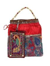 Ethnic Raw Silk Potli Bag - Bidesi Jaipur