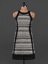 Monochrome Aztec Print Polyester Dress - Femenino