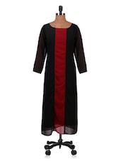 Black Color Block Long Georgette Kurta - By