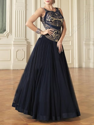 Navy blue net embroidered stitched suit -  online shopping for Stitched Suits