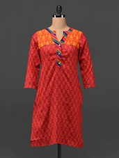 Block Printed Quarter Sleeve Cotton Kurta - MOTIF