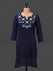 Ikat Yoke Quarter Sleeve Cotton Kurta - MOTIF