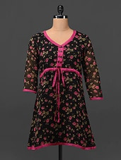 Floral Print Sheer Sleeve Georgette Tunic - MOTIF