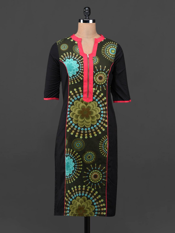 Floral Design Front Zipper Kurta