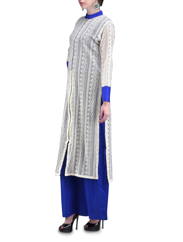 Lace Full Front Zipper Blue Salwar Suit Set