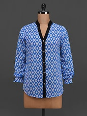 Blue Printed Long Sleeves Georgette Top - Tapyti