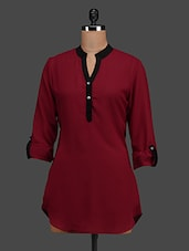 Maroon Button-up Sleeves Georgette Top - Tapyti