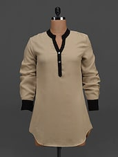 Beige Long Sleeves Georgette Top - Tapyti