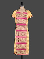 Short Sleeves Printed Cotton Kurta - KURTAWALA
