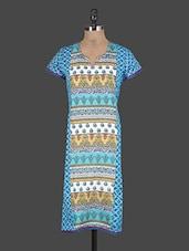 Blue Short Sleeves Printed Cotton Kurta - KURTAWALA