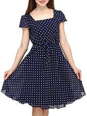 blue Polka dot print A line dress -  online shopping for Dresses