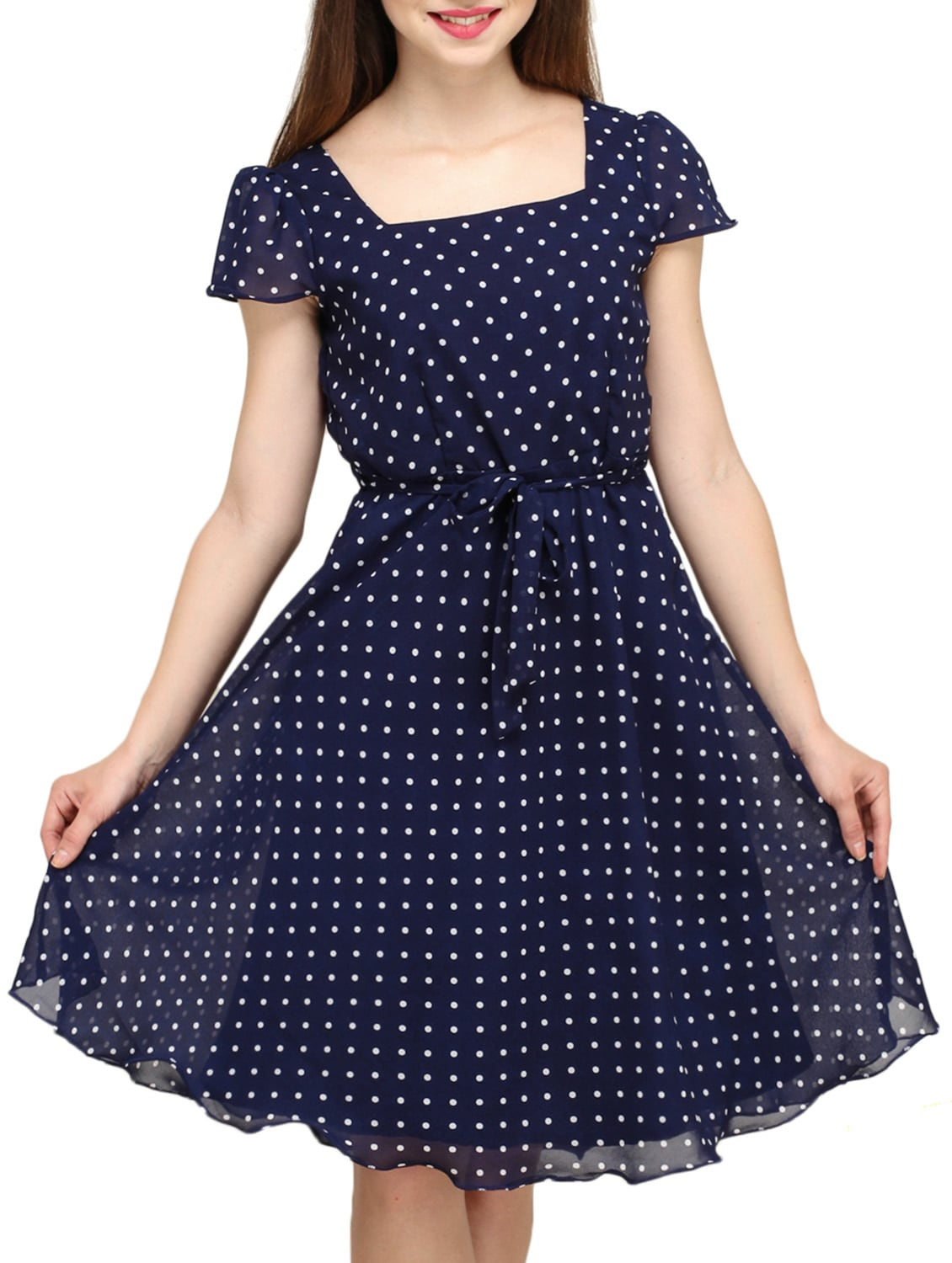 9d3b9d4442 Buy Blue Polka Dot Print A Line Dress by Color Fuel - Online shopping for  Dresses in India